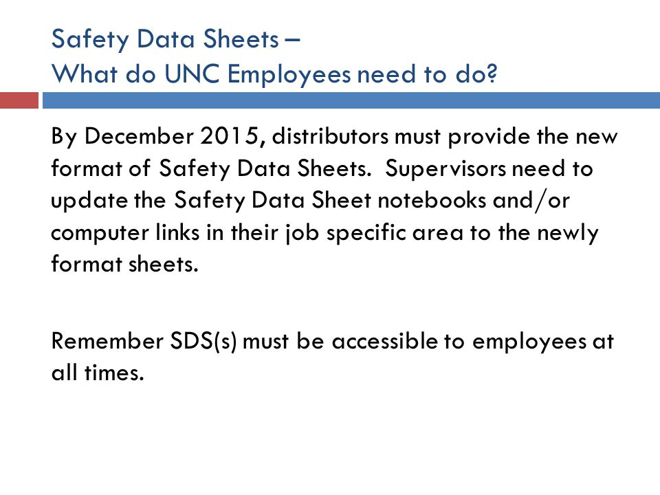 Safety Data Sheets – What do UNC Employees need to do