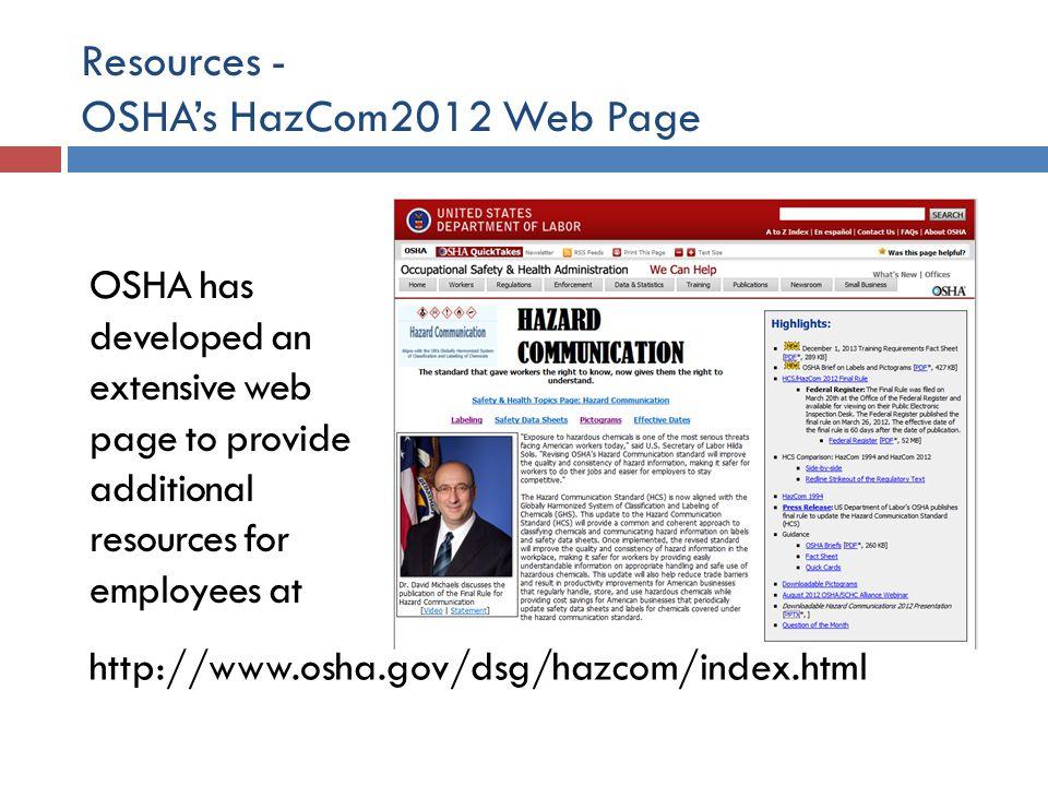 Resources - OSHA's HazCom2012 Web Page