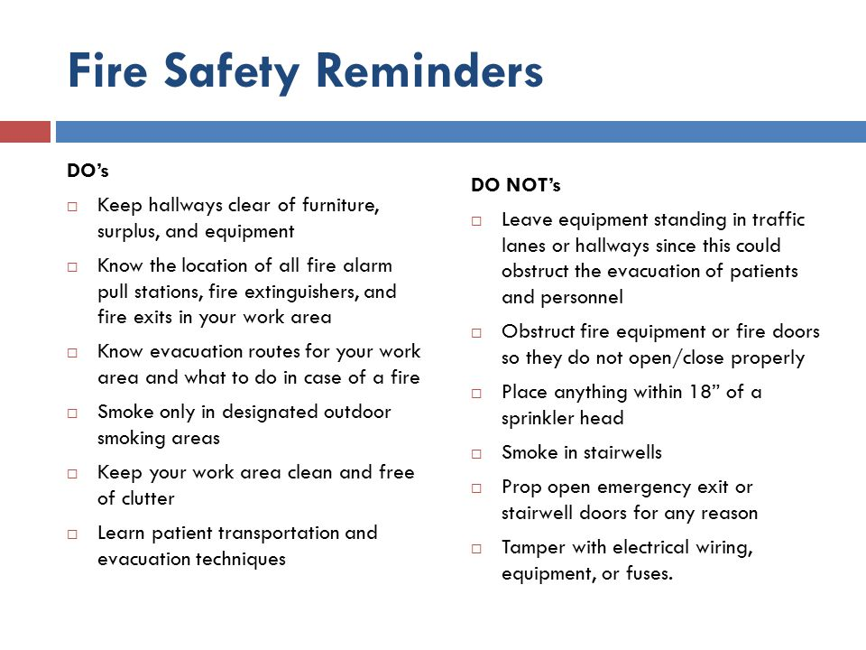 Fire Safety Reminders DO's