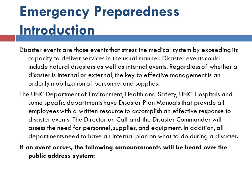 Emergency Preparedness Introduction