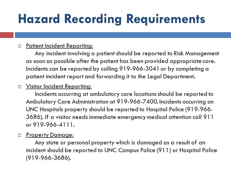 Hazard Recording Requirements