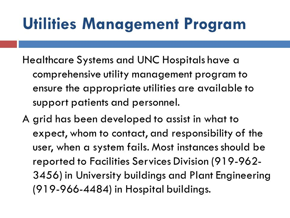 Utilities Management Program