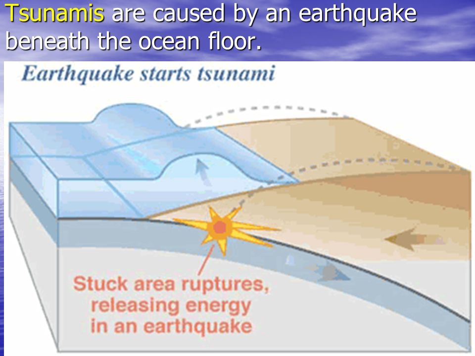 Tsunamis are caused by an earthquake beneath the ocean floor.