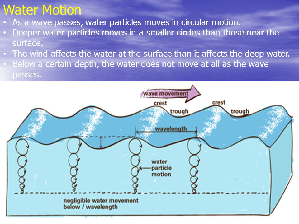 Water Motion As a wave passes, water particles moves in circular motion.