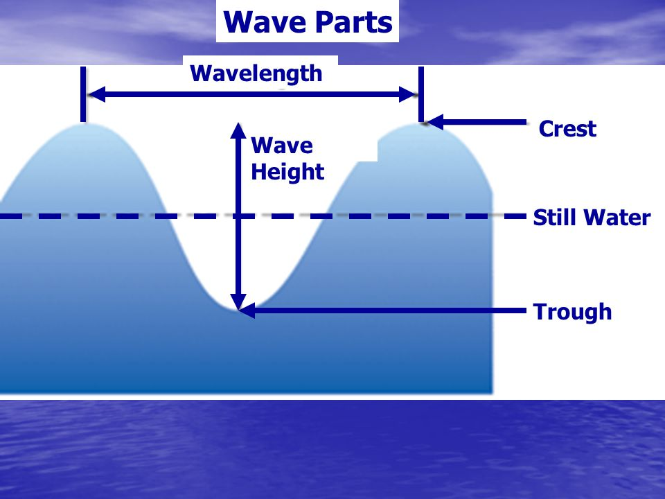 Wave Parts Wavelength Crest Wave Height Still Water Trough
