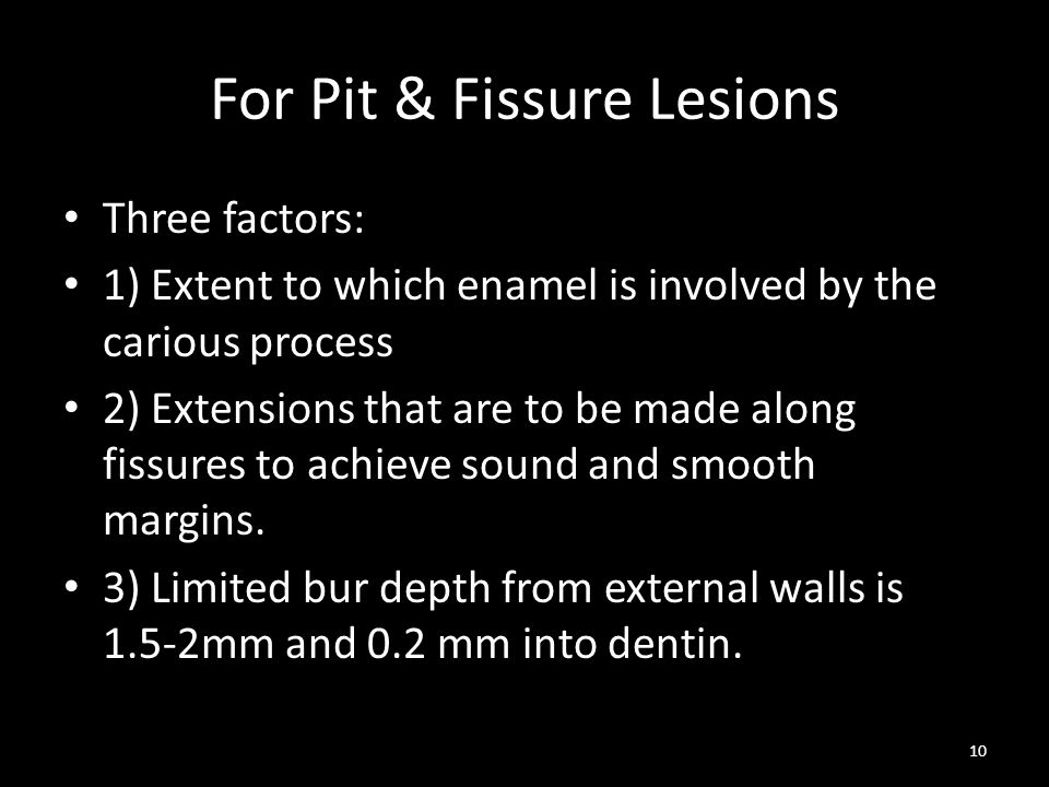 For Pit & Fissure Lesions