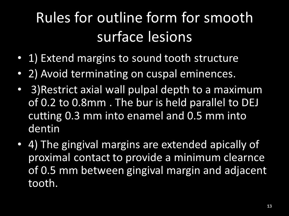 Rules for outline form for smooth surface lesions