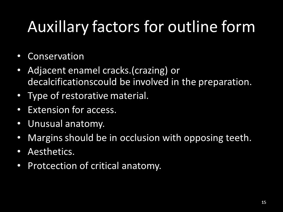 Auxillary factors for outline form