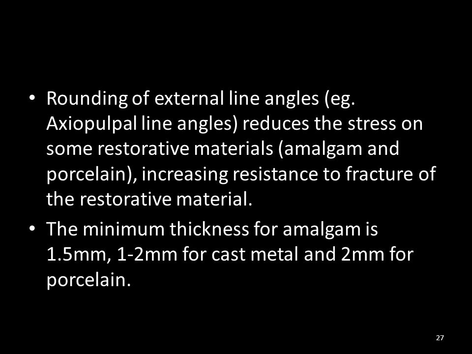 Rounding of external line angles (eg