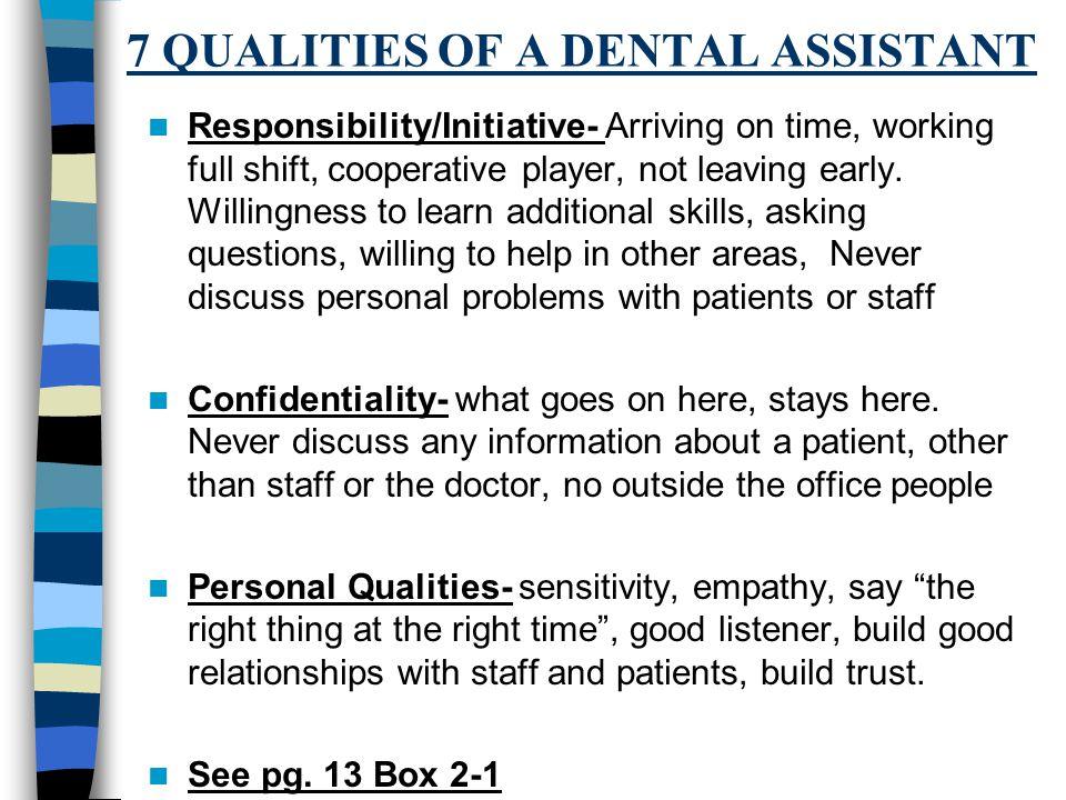dental assistant questions