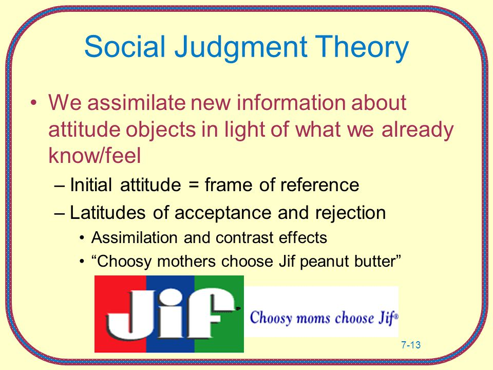 social judgement theory essay Social judgment theory november 7, 2017 uncategorized for your third written assignment, you will explore the relationship between communication theory and.