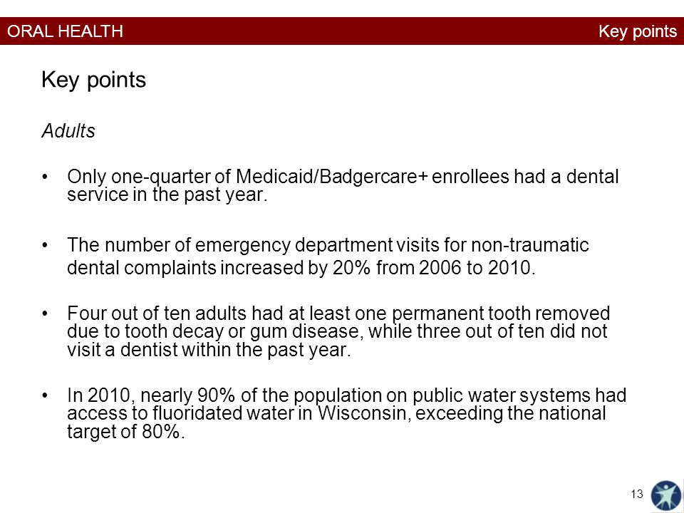 Key points Key points. Adults. Only one-quarter of Medicaid/Badgercare+ enrollees had a dental service in the past year.