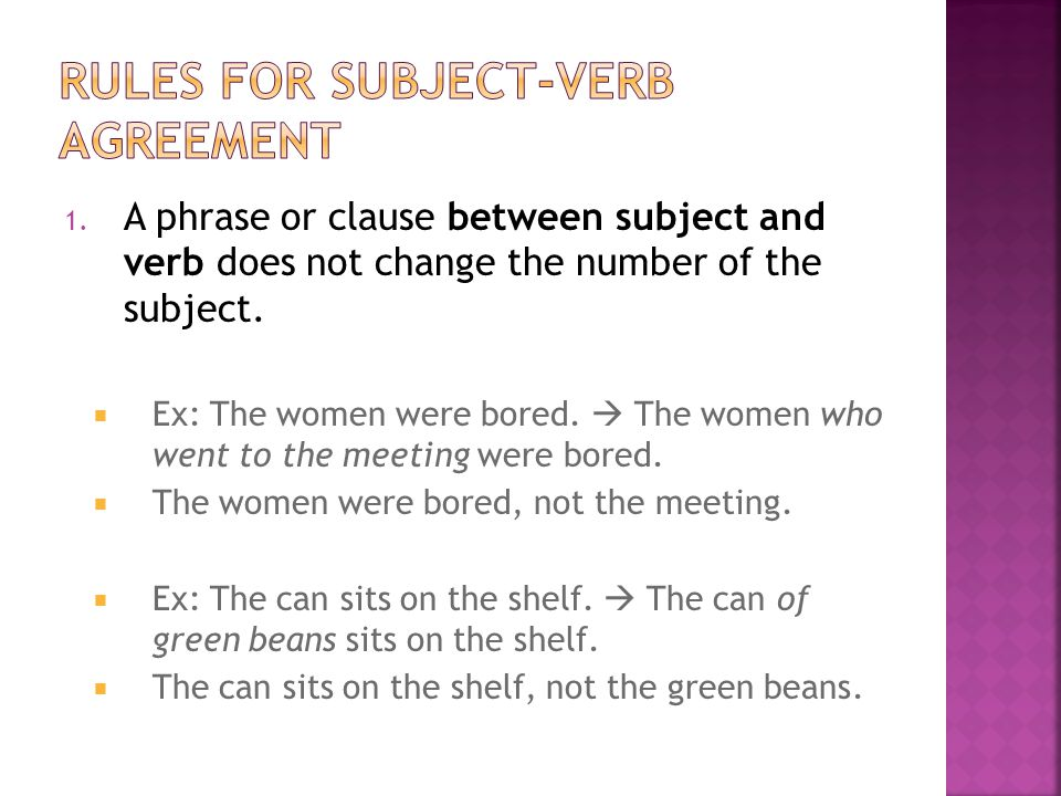 Rules for subject-verb agreement
