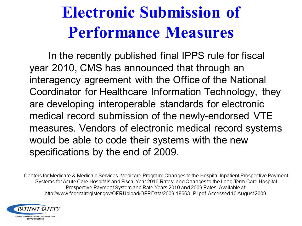Electronic Submission of Performance Measures