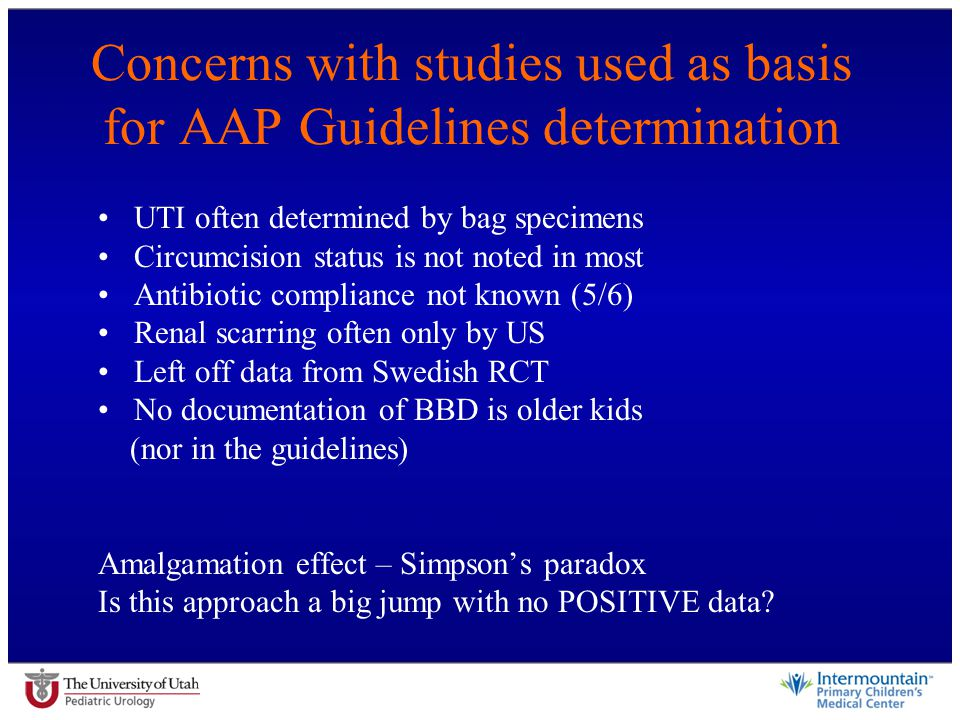 Concerns with studies used as basis for AAP Guidelines determination