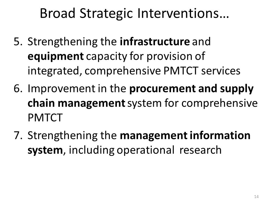 Broad Strategic Interventions…