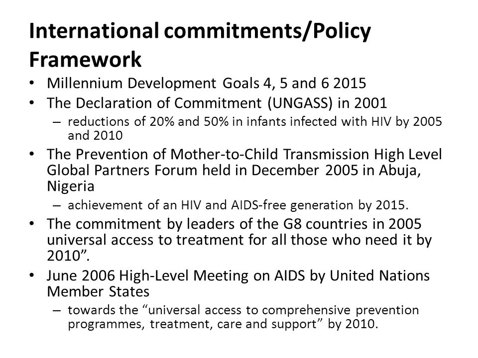 International commitments/Policy Framework