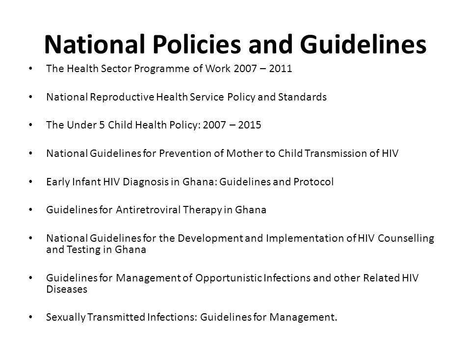 National Policies and Guidelines