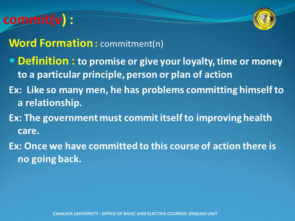 unit commitment definition in a relationship