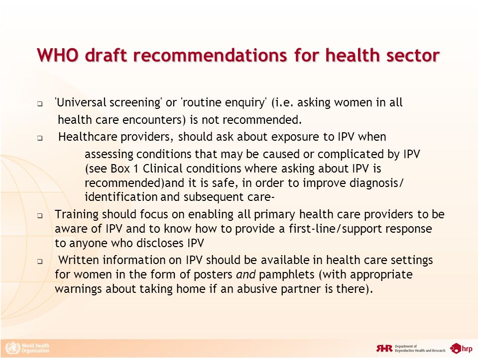 WHO draft recommendations for health sector