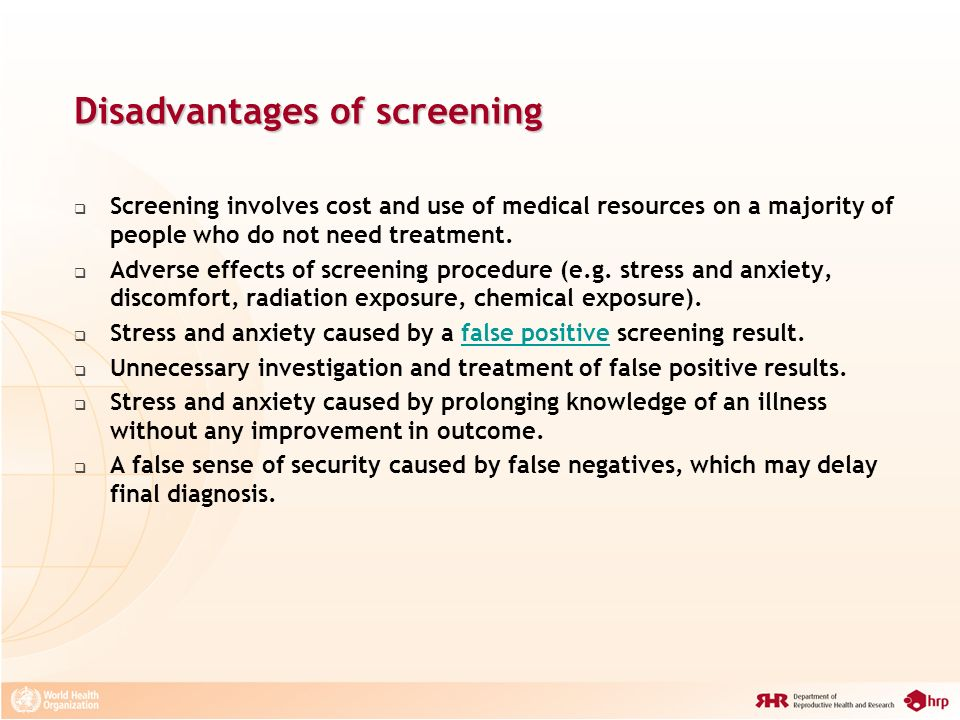 Disadvantages of screening