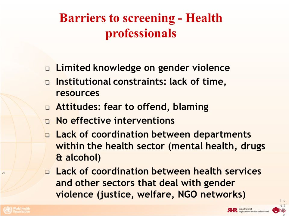 Barriers to screening - Health professionals