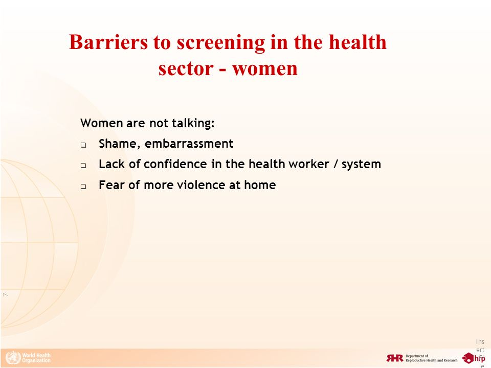 Barriers to screening in the health sector - women