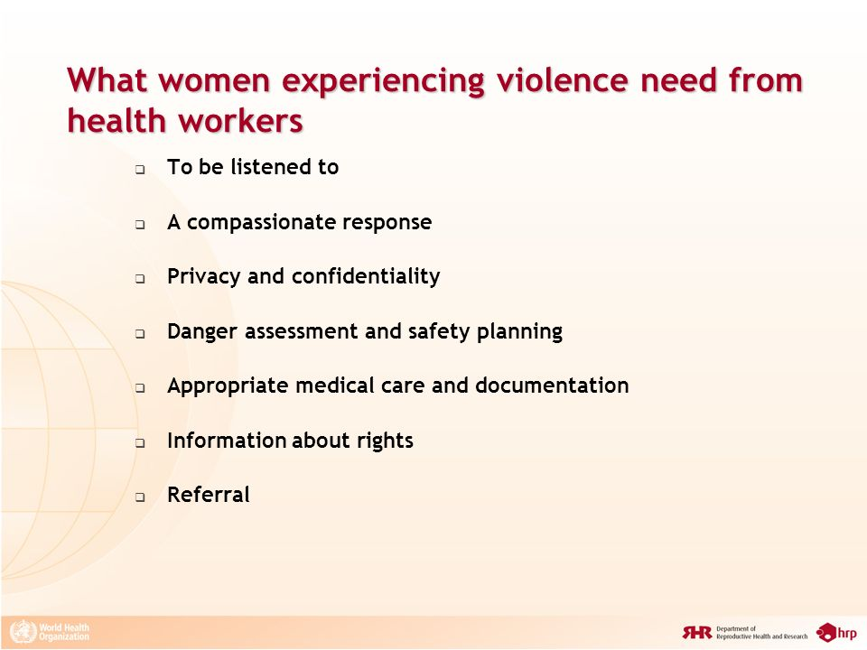 What women experiencing violence need from health workers
