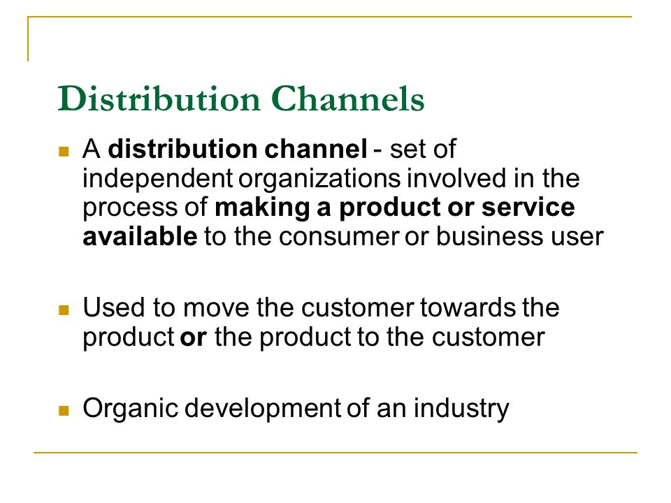 a comparison of the channels of distrubution in the market A distribution channel is the network of individuals and organizations involved in getting a product or service from the producer to the customer.