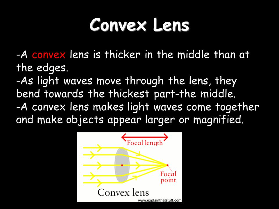 Convex Lens -A convex lens is thicker in the middle than at the edges.