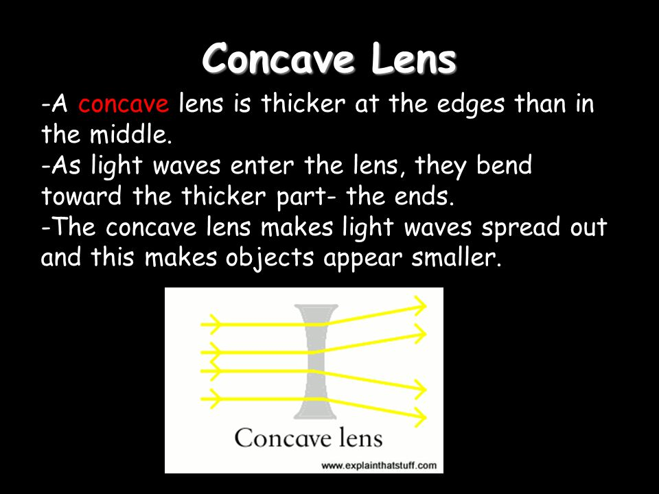 Concave Lens -A concave lens is thicker at the edges than in the middle.