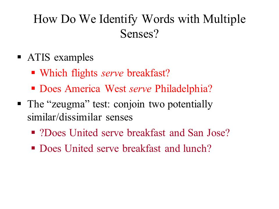 Word Relations and Word Sense Disambiguation ppt video  : HowDoWeIdentifyWordswithMultipleSenses from slideplayer.com size 960 x 720 jpeg 69kB