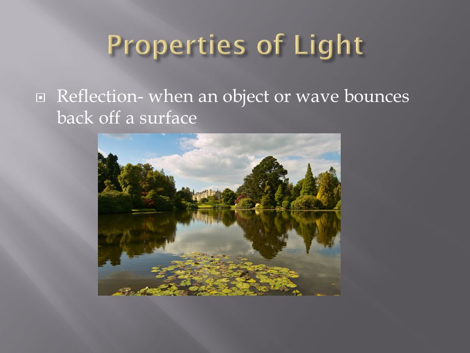 Properties of Light Reflection- when an object or wave bounces back off a surface
