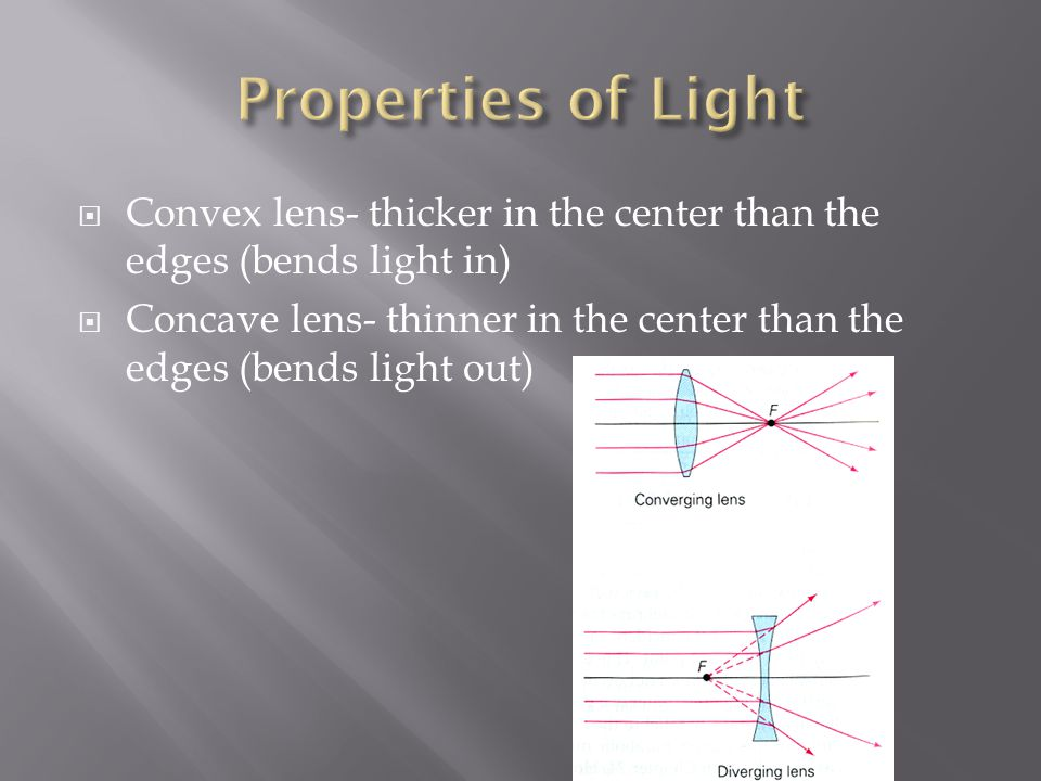 Properties of Light Convex lens- thicker in the center than the edges (bends light in)