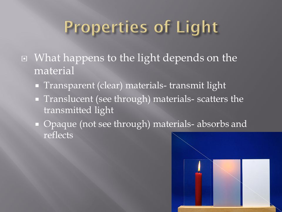 Properties of Light What happens to the light depends on the material