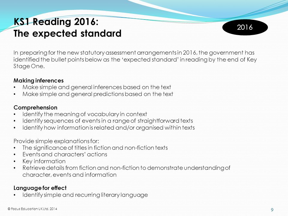KS2 Reading 2016: The expected standard 2016