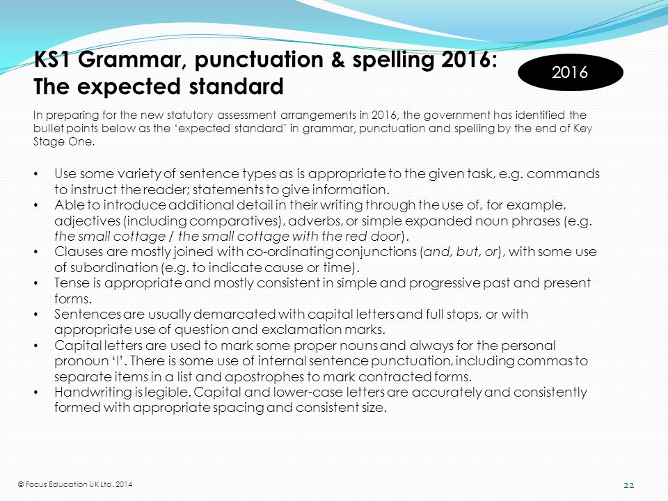 KS1 Grammar, punctuation & spelling 2016: The expected standard