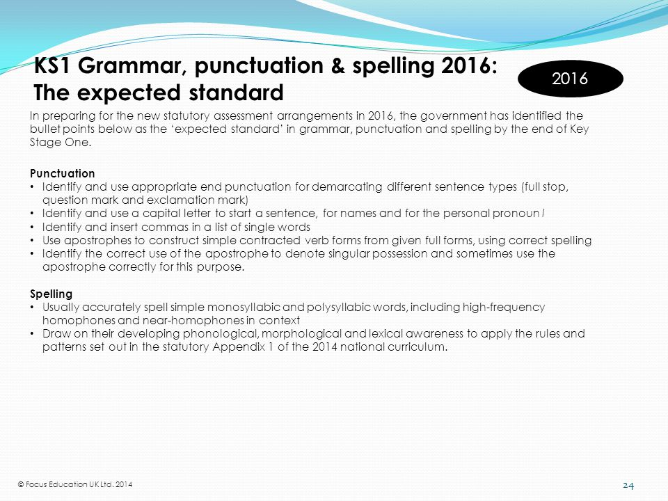 KS2 Grammar, punctuation & spelling 2016: The expected standard