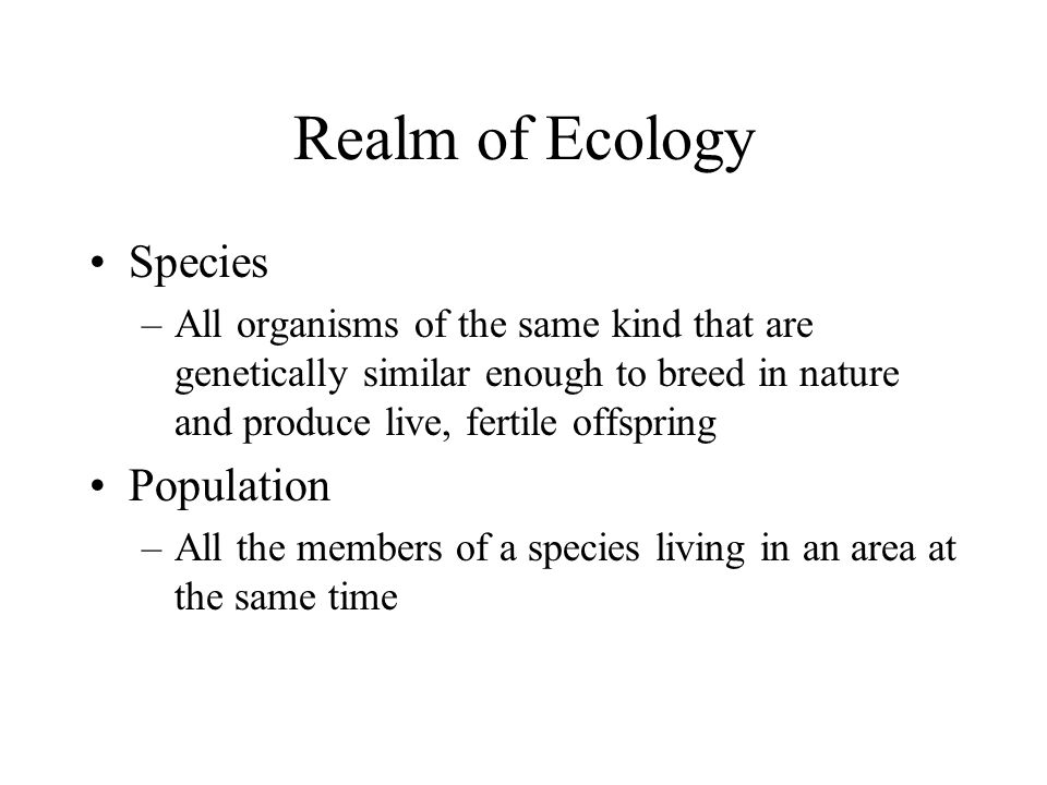 Realm of Ecology Species Population