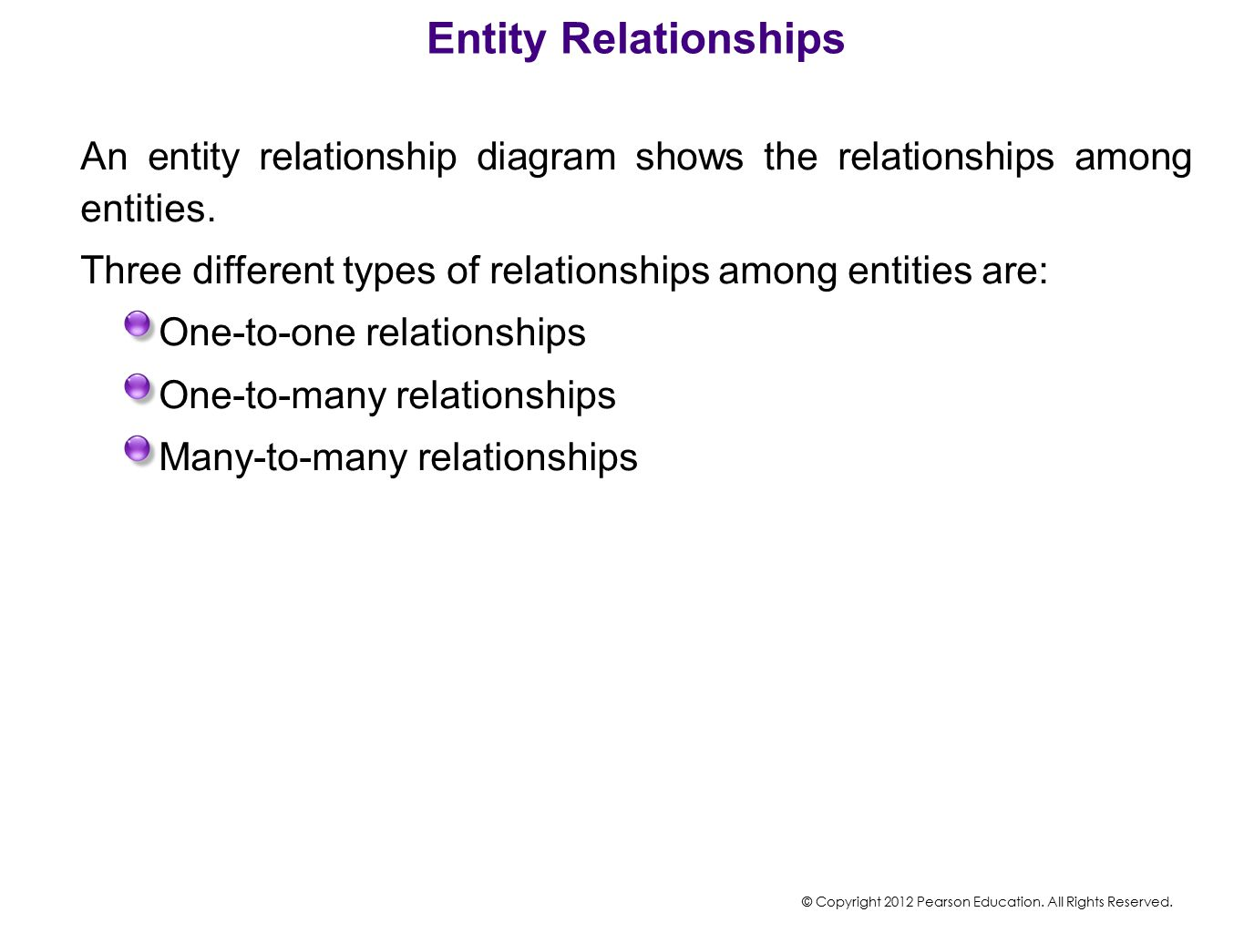 Entity Relationships An entity relationship diagram shows the relationships among entities.