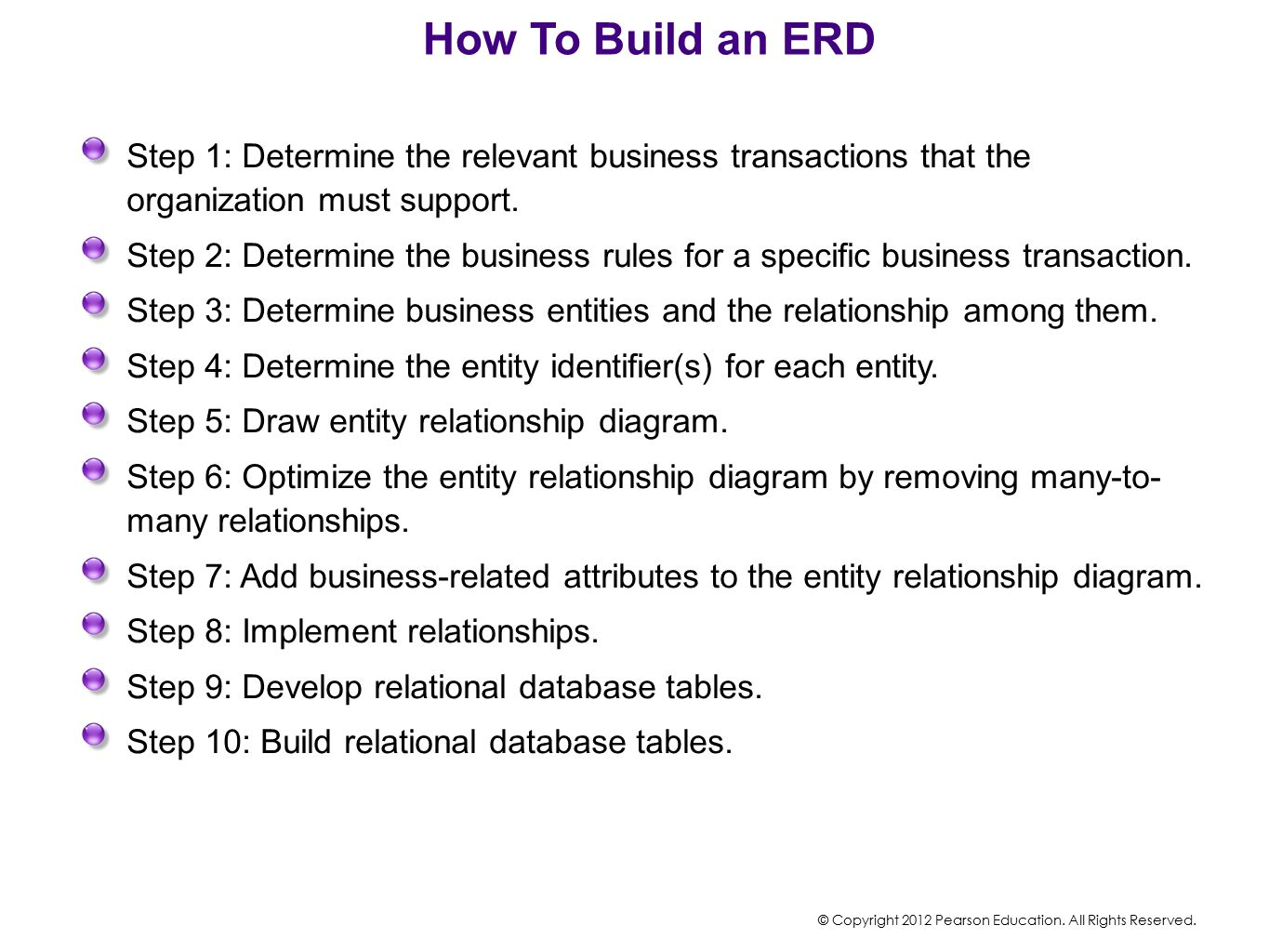 How To Build an ERD Step 1: Determine the relevant business transactions that the organization must support.