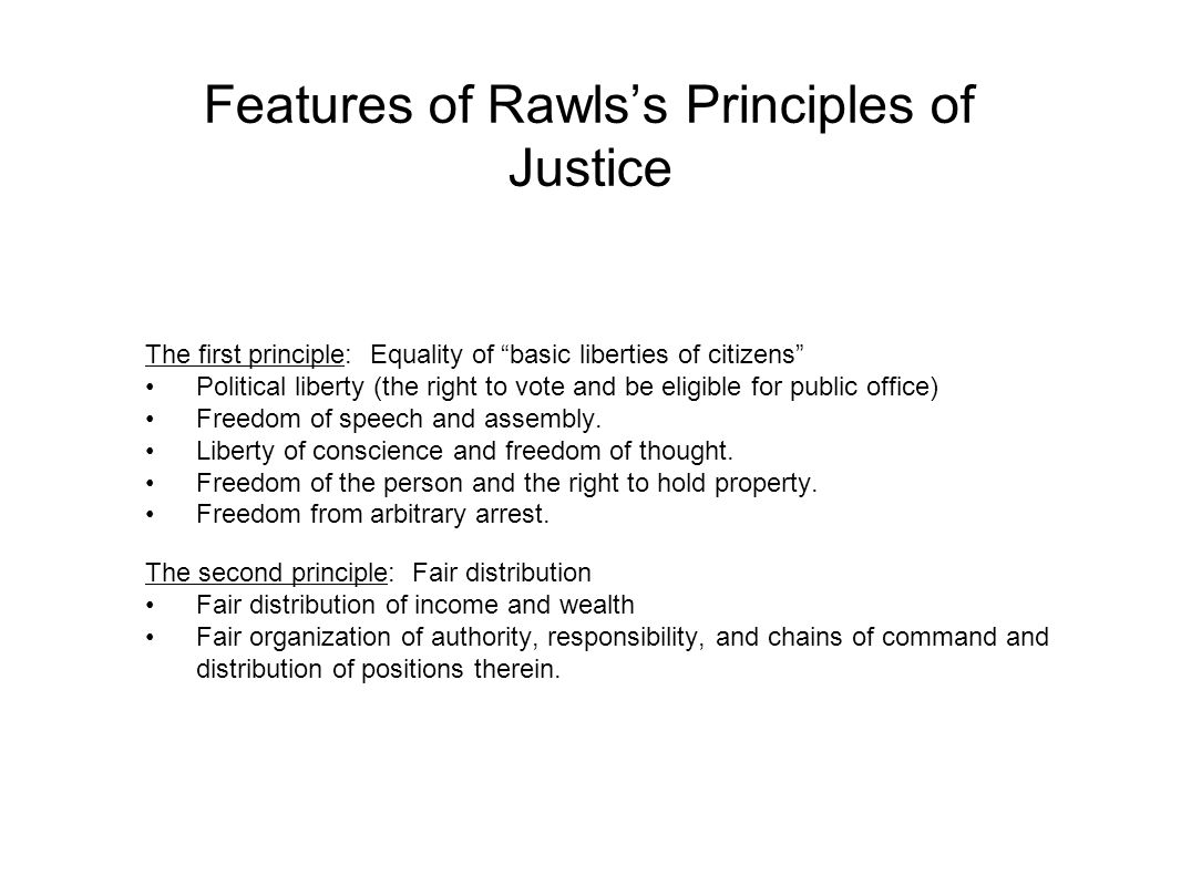 Features of Rawls's Principles of Justice