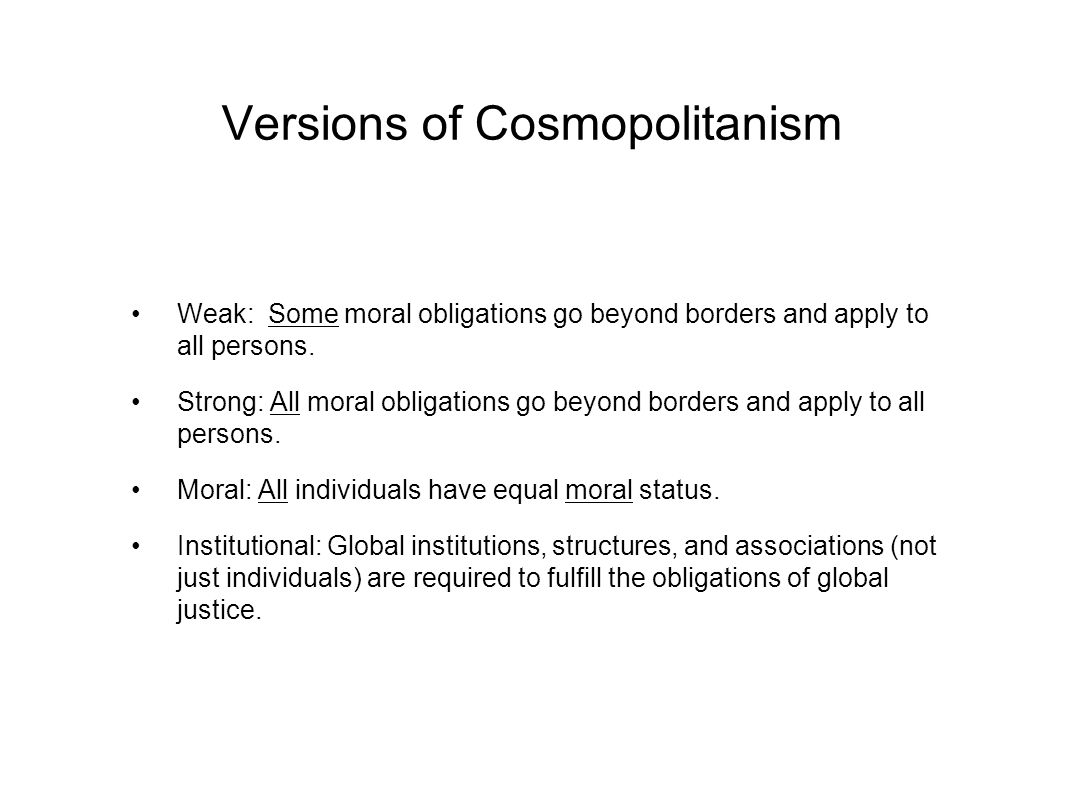 Versions of Cosmopolitanism