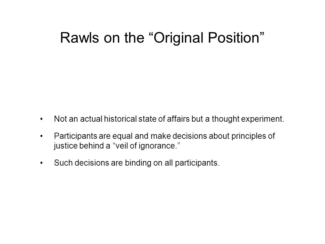 Rawls on the Original Position