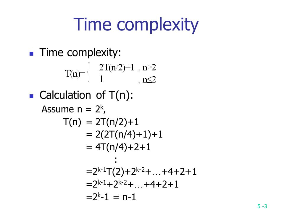 Binary search complexity calculation