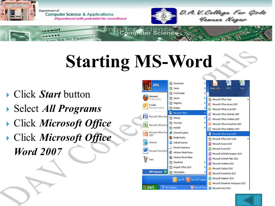 starting ms word click start button select all programs
