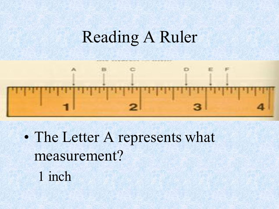 Reading A Ruler The Letter A represents what measurement 1 inch