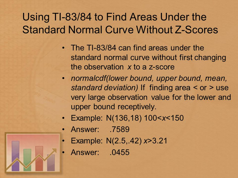 The standard deviation as a ruler and the normal model ppt download using ti 8384 to find areas under the standard normal curve without z ccuart Gallery