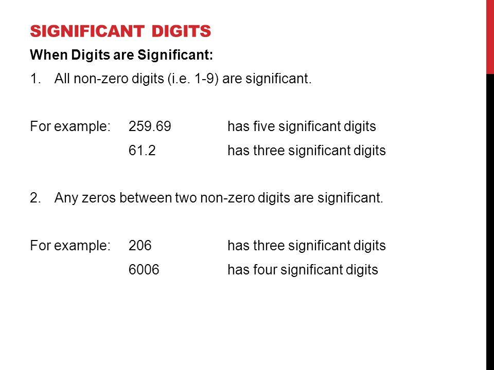 Significant digits When Digits are Significant: