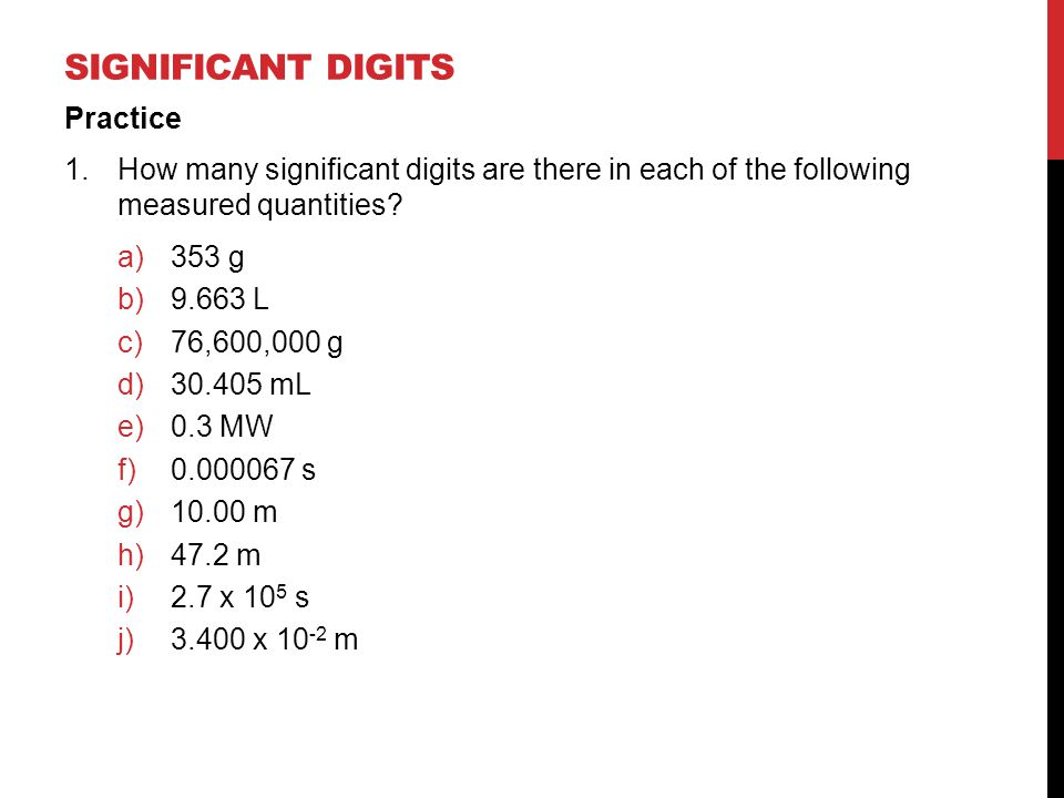 Significant digits Practice